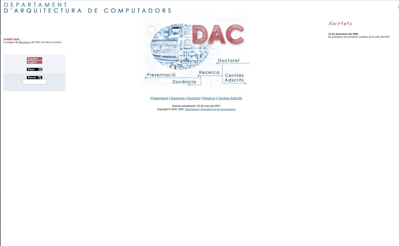 2001 web page